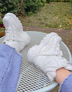 Buffalo - Klobige Ankle-Boots aus Leder in Weiß