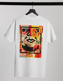 Obey - Weißes T-Shirt mit Kollagen-Gesichtsprint hinten