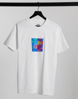 Obey - Weißes T-Shirt mit quadratischem Print auf der Brust