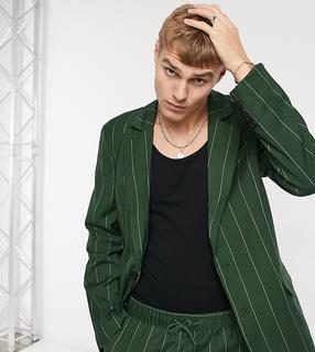 Reclaimed Vintage - Inspired – Dad-Blazer mit Nadelstreifen-Grün