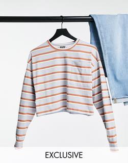Reclaimed Vintage - Inspired – Langärmlig, kurzes T-Shirt mit Tasche, gestreift-Mehrfarbig