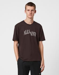 AllSaints - Dropout – T-Shirt in Ochsenblutrot