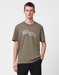 AllSaints - Dropout – T-Shirt in Khaki-Grün