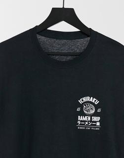 New Look - Schwarzes T-Shirt mit Ichiraku-Print auf der Brust