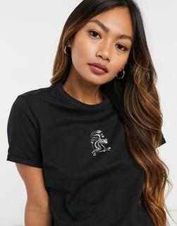 Pimkie - T-Shirt mit Schlangenmotiv in Schwarz