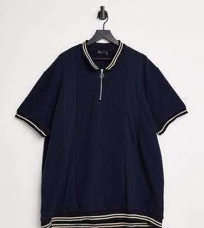 ASOS DESIGN - Plus – Polohemd aus strukturiertem Stoff mit Reißverschluss und Kontraststreifen in Marineblau