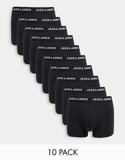 Jack & Jones - Schwarze Unterhosen mit Logobund im 10er-Pack