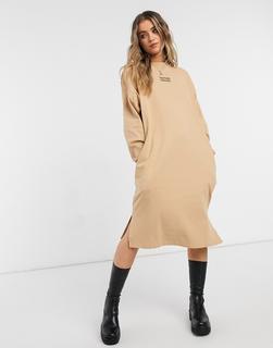 Monki - Mindy – Pulloverkleid aus Bio-Baumwolle in Beige-Grün