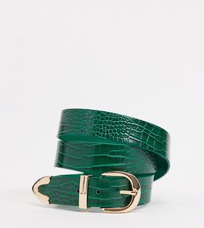Glamorous Curve - Exklusiver Gürtel in grüner Kroko-Optik mit goldfarbener Spitze