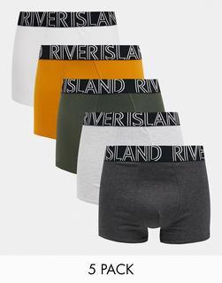 River Island - 5er-Pack Hüftslips in Grün und Senfgelb