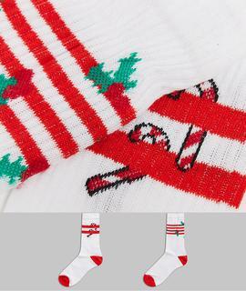 ASOS DESIGN - Sportsocken mit Stechpalme & Zuckerstange im 2er-Pack-Mehrfarbig
