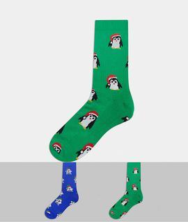 ASOS DESIGN - Sportsocken mit niedlichen weihnachtlichen Tieren, 2er-Pack-Mehrfarbig
