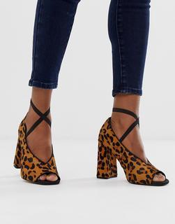ASOS DESIGN - Peyton – Hochwertige High-Heels aus Leder mit Leopardenmuster-Mehrfarbig