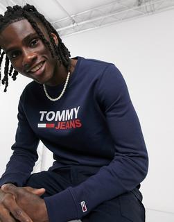 Tommy Jeans - Schmal geschnittenes Sweatshirt in Marineblau mit Rundhalsausschnitt und Logo auf der Brust-Navy
