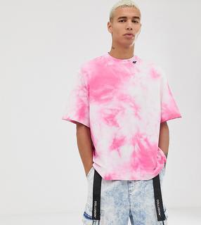 Collusion - Rosa Batik-T-Shirt mit Schlaufen