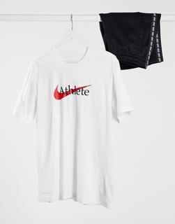 Nike Training - T-Shirt mit Athlete-Logo in Weiß