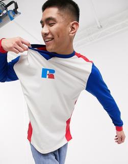 Russell Athletic - Rufus – Langärmliges T-Shirt im Patchwork-Stil in Weiß und Blau