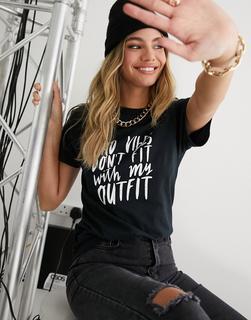 In The Style - T-Shirt in Schwarz mit Slogan-Print