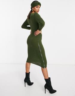 NaaNaa - Midi-Sweatshirtkleid in Khaki mit seitlichem Reißverschluss und passendem Stirnband-Grün