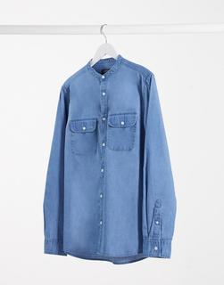 Burton Menswear - Langärmliges Jeanshemd aus Bio-Baumwolle-Blau