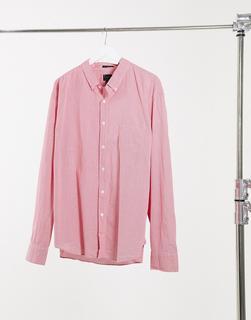J Crew - Langärmliges Hemd mit Waschung und kleinem Gingham-Muster-Rot