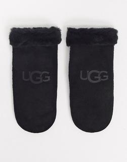 UGG - Fäustlinge in Schwarz aus Schaffell mit Logo