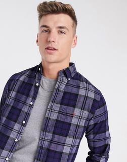 GANT - Kariertes Hemd aus Cord mit Button-Down-Kragen, Tasche und Logo in Marineblau, reguläre Passform