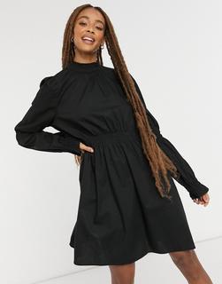 Monki - Maud – Minikleid aus Baumwolle mit Raffung in Schwarz