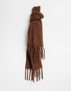 Monki - Elsa – Schal aus recyceltem Polyester in Dunkelbraun