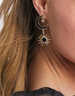 ASOS DESIGN - Ohrringe mit Mond- und Sonnenanhängern in Gold