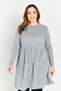 Evans - Grey Soft Touch Dress, Grey