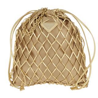 Prada - Umhängetasche - Mesh Satin Crossbody Bag Gold - in gold - für Damen