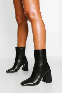 boohoo - Womens Sockenstiefel Mit Quadratischer Zehenpartie Und Blockabsatz - Schwarz - 38, Schwarz