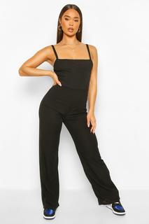 boohoo - Womens Ribbed Binding Detail Strappy Wide Leg Jumpsuit - Black - 36, Black