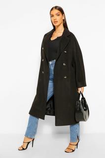boohoo - Womens Zweireihiger Mantel In Strukturierter Twill-Wolloptik - Schwarz - 36, Schwarz