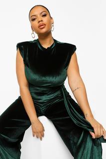boohoo - Womens Plus Velvet Shoulder Pad Jumpsuit - Emerald - 42, Emerald