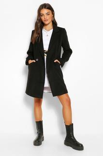 boohoo - Womens Zweireihiger Mantel In Wolloptik Mit Tasche - Schwarz - 34, Schwarz