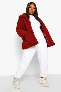 boohoo - Womens Plus Kurze Jacke Aus Teddy-Fake-Fur - Weinrot - 50, Weinrot