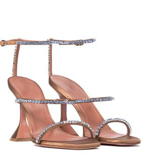Amina Muaddi - Verzierte Sandalen Gilda aus Satin