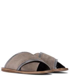Brunello Cucinelli - Sandalen aus Veloursleder