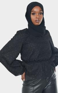 PrettyLittleThing - Black Premium Crochet V Neck Peplum Blouse, Black