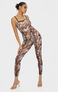 PrettyLittleThing - Multi Marble Print Seam Detail Strappy Mesh Jumpsuit, Brown