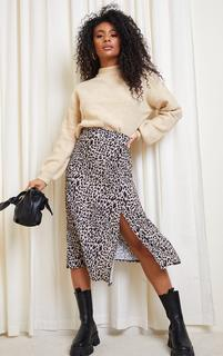PrettyLittleThing - Brown Leopard Print Floaty Midi Skirt, Brown
