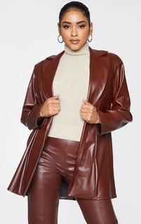PrettyLittleThing - Chocolate Longline Lapel Detail Faux Leather Blazer, Chocolate