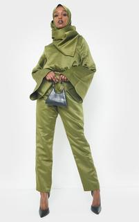 PrettyLittleThing - Khaki Satin Flare Sleeve Wide Leg Jumpsuit, Green