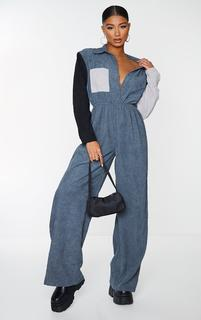 PrettyLittleThing - Charcoal Cord Colour Block Shirt Jumpsuit, Grey