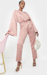 PrettyLittleThing - Blush Satin Flare Sleeve Wide Leg Jumpsuit, Pink