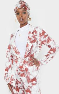 PrettyLittleThing - Rust Printed Clasp Front Fitted Blazer, Orange