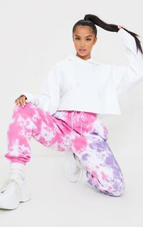 PrettyLittleThing - Petite Pink Multi Tie Dye Joggers, Multi