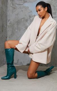 PrettyLittleThing - Khaki Knee High Point Block Heel Boot, Green